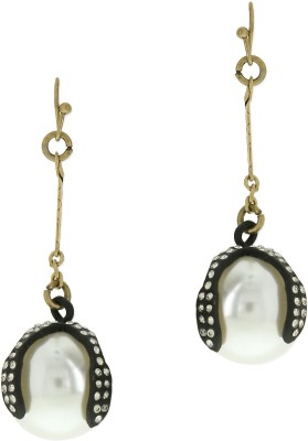 Oomph Gold, Black & White Crystal & Pearl Fashion Jewellery for Women, Girls & Ladies Metal Dangle Earring