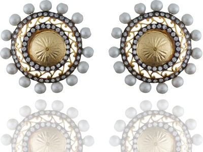 Chaahat Fashion Jewellery Simple And Beautiful Designed Pearl Cubic Zirconia Copper Stud Earring