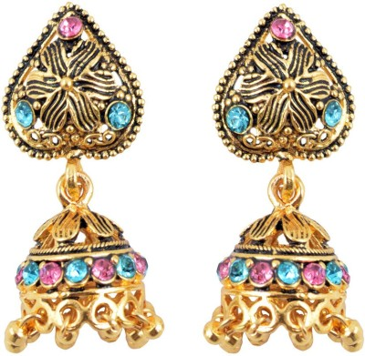Diovanni Ancient Golden Blue Pure Heart Metal Jhumki Earring