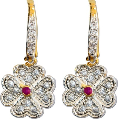 Enzy Flower Design Cubic Zirconia Alloy Dangle Earring
