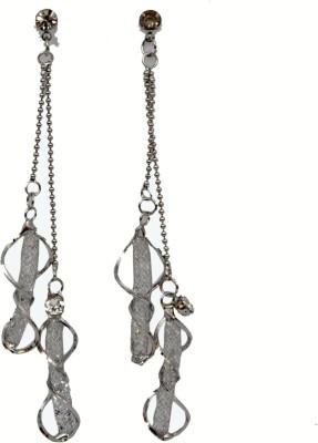 WoW Silver Tone Mesh Crystal Drop Earring
