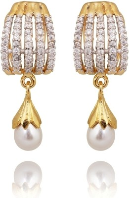 Amroha Crafts Five AD Row White Alloy Drop Earring