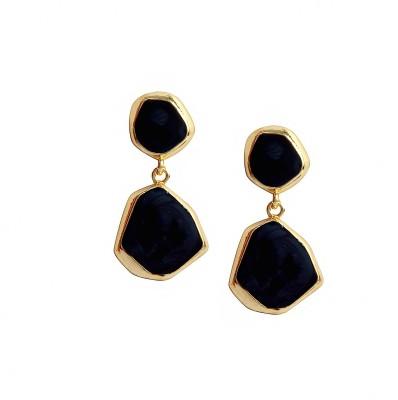 Bezel ME - 51 Golden Black Alloy Drop Earring