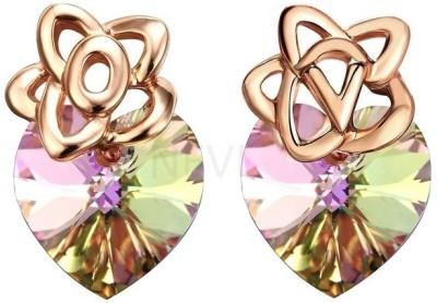 Nevi Rose Gold Heart Swarovski Crystal Alloy Stud Earring