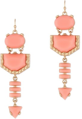 Oomph Gold & Pink Peach Crystal Fashion Jewellery for Women, Girls & Ladies Metal Dangle Earring