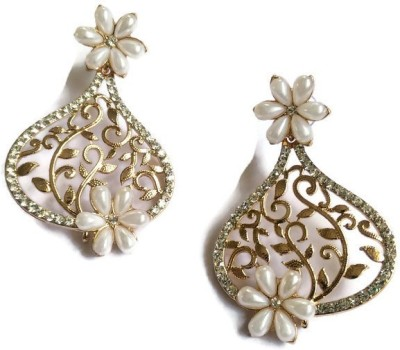 Fabula Gold & White Pearl Traditional Ethnic Jewellery Floral Filigree for Women, Girls & Ladies Metal Dangle Earring