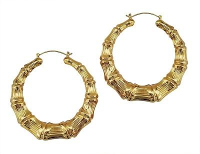 Mehrunnisa 18k Gold Tone Big Round Hoop For Women Metal Hoop Earring