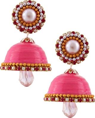 Jaipur Raga Hancrafted Single Stud Pink Jhumka Brass Jhumki Earring