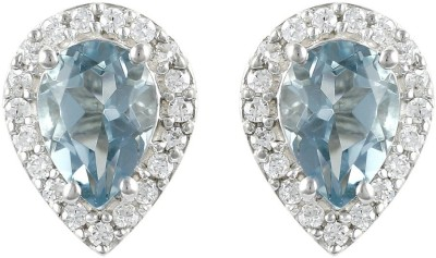 Exxotic Jewelz Designer Sparkle Topaz Sterling Silver Stud Earring