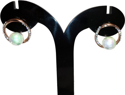 Chains n Charms Round Pearl Crystal Alloy Drop Earring