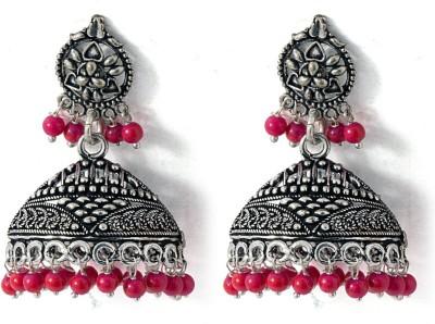 Voylla Artifictial Floral Oxidised Crystal Alloy Jhumki Earring