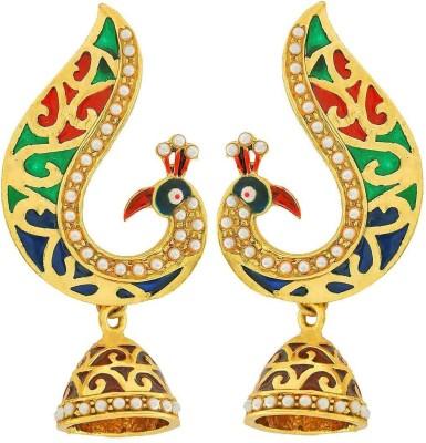 Maayra Grand Meenakari Copper Jhumki Earring