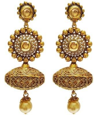Mehrunnisa Traditional Long Dholki Kundan Pearl Copper Dangle Earring