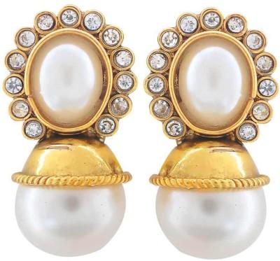 Maayra Plush Crystal Brass Dangle Earring