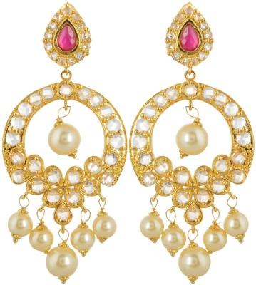 BHANSALI JEWELS Polki Earrings Cubic Zirconia Brass Chandelier Earring