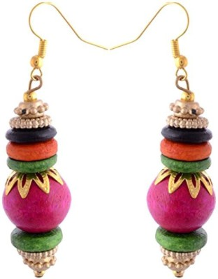 Gliteri pink bead Wood Dangle Earring