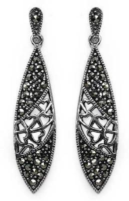 Johareez Floral Cubic Zirconia Sterling Silver Drop Earring