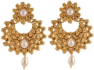 Sewad Elegant Light weight golden with pearl hanging for womens Copper Chandbali Earring