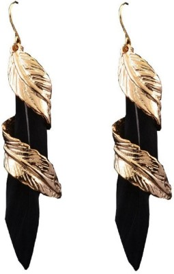 Oomph Gold & Black Feather Fashion Jewellery for Women, Girls & Ladies Metal Dangle Earring