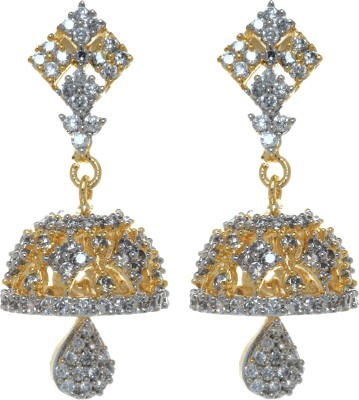 Gliteri golden cutwork sparkling Cubic Zirconia Copper Jhumki Earring