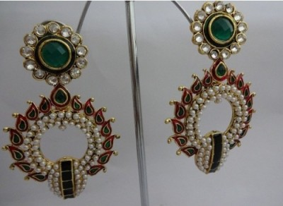 SB Fashions Green and pink stones earring with pearl Brass Earring Set