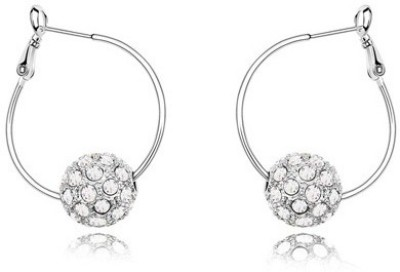 Silver Shoppee Magical LOVE Crystal, Cubic Zirconia Alloy Hoop Earring