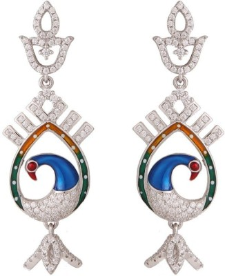 TUAN colorful peacock shaped Cubic Zirconia Sterling Silver Chandelier Earring