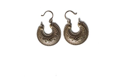 modifier Black Silver Flower Alloy Dangle Earring