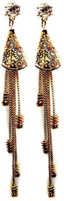 000 Fashions Gold-tone drop earrings with chain tassels Crystal Alloy Dangle Earring