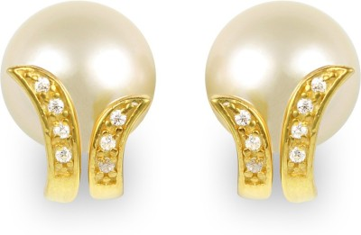 Exxotic Jewelz Diva Fashion Pearl, Cubic Zirconia Silver Stud Earring