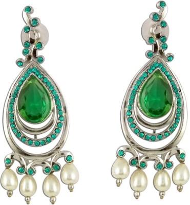 The Fine World Glitzy Shimmering Stones Zircon Metal Drop Earring