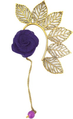 Ammvi Multi Leaves With Purple Rose Charm Brass Cuff Earring