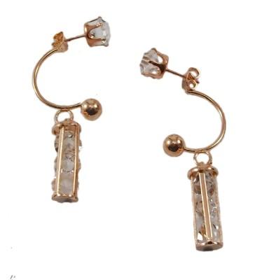 Bandish Rose Gold toned Stud cum Stone studded Tubular Alloy Dangle Earring