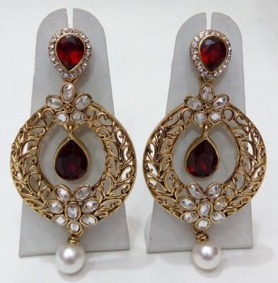 Womaniya red dazzling Alloy Chandelier Earring