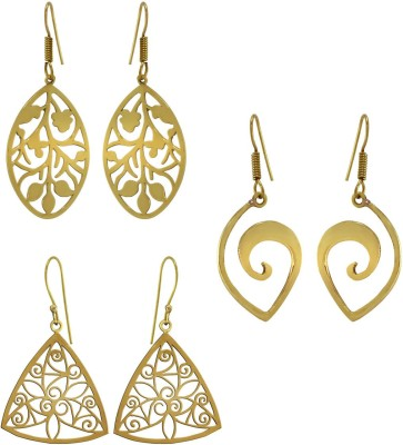 925 Silver Antique Brass Combo Alloy Earring Set