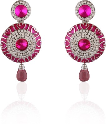 AccessHer Double Circle Pink Enamel Brass Dangle Earring
