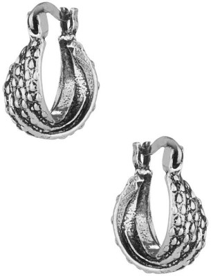 Factorywala Stylish Pair Of Oxidized Toned Alloy Hoop Earring