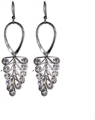 000 Fashions Silver Leaf Crystal Hoop Earrings Crystal Alloy Hoop Earring