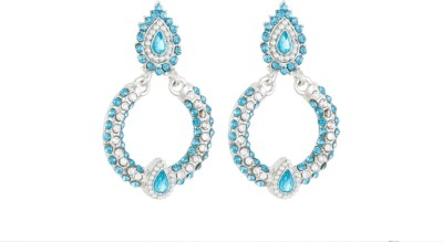 Aanya Creations Blue Sparkle Alloy Chandelier Earring