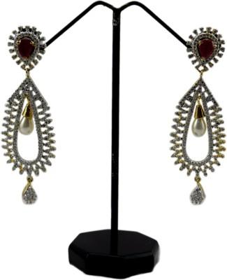Bharat Sales red color cz stone cuff Cubic Zirconia Alloy Chandbali Earring