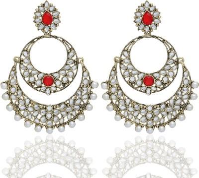 Castle Street Red Alloy Chandbali Earring