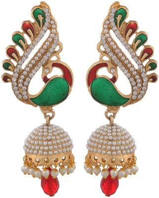 Blacksmith Art Peacock Crystal Metal Jhumki Earring