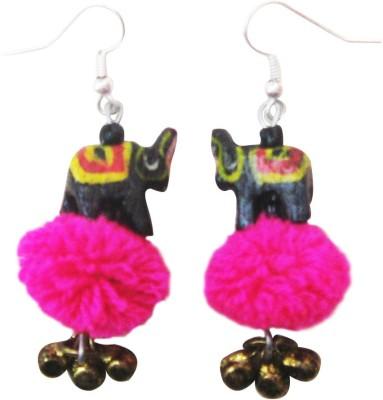Juhi Malhotra Black And Pink Elephant Wood Drop Earring