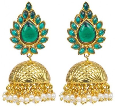 Jillcart Jhumka Earring with Green Stone and Pearls-Gold Plated Pearl Copper Jhumki Earring