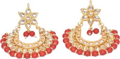 MARTZONE Royal Kundan Brass Chandelier Earring