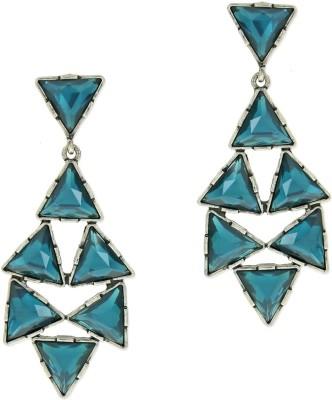 Oomph Silver & Blue Crystal Fashion Jewellery for Women, Girls & Ladies Metal Drop Earring