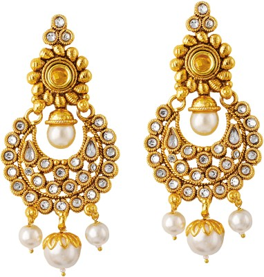 TAKSPIN Jhumki Hoop Adorned With Pearl Beads Pearl Alloy Drop Earring