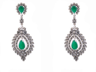 Aashirwad Onyx Silver Drop Earring