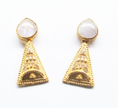 Bhrti semi precious Gold plated Moonstone Brass Stud Earring