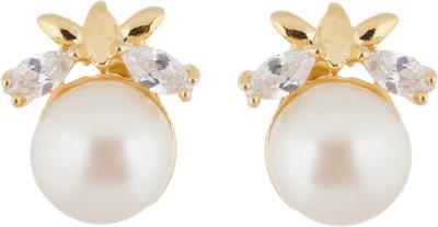 Janki Jewellers Elegant Pearl Alloy Stud Earring